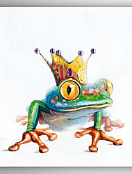 Oil Painting  a Frog with Imperial Crown Hand Painted Canvas with Stretched Framed Ready to Hang