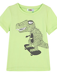 Girl's Green / Orange Tee,Print Cotton Summer