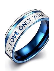 Fashion Generous Men's Blue Stripe English Alphabets Titanium Steel  Statement Rings(Silver-Blue)(1Pc)