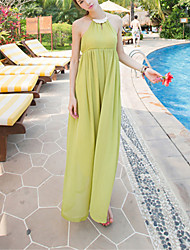 SINCE THEN Women's Sexy / Boho Solid Swing Dress,Halter Maxi Polyester