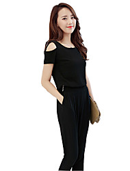 Women's Solid Black / Green Jumpsuits,Vintage Round Neck Short Sleeve
