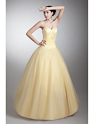 Formal Evening Dress A-line Sweetheart Floor-length Tulle with Pleats