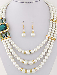 Women European Style Fashion Multilayer Imitation Gem Shiny Pearl Necklace Earring Set