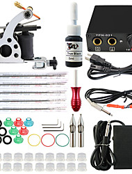 Professional Complete 2 Gun Tattoo Machine Kit 1PCS Ink Power Supply Needle Grips Tips