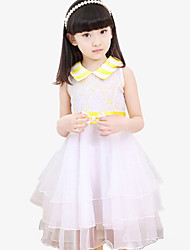 Girl's Yellow Dress,Patchwork Polyester All Seasons