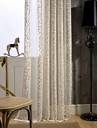 Dois Painéis Europeu Curva Como na Imagem Sala de Estar Linho/Mistura de Algodão Sheer Curtains Shades