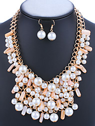 Women Fashion Pearl Necklaces Alloy Exaggerated Pendant Statement Necklace