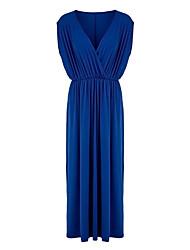 Women's Boho Solid Loose Dress,V Neck Maxi Polyester