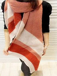 Retro Stripes  Stitching Color  Wool Knit Warm Bevel Scarves