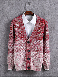 Men's Casual/Daily Regular Cardigan,Color Block Long Sleeve Cotton