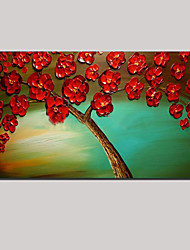 Stretched (ready to hang) Hand-painted Oil Painting Red Flower Blossom Tree of Life Wall Art