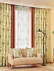 Two Panels European Country Patchwork Polyester Curtain Draps Flower Garden Pattern