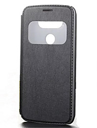 For LG Case with Stand / with Windows / Flip / Embossed Case Full Body Case Solid Color Hard PU Leather LG