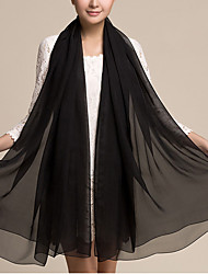 Women Cute Pure Color High-end Elegant Black Silk Scarves Chiffon Shawl Beach Towel