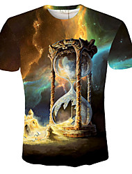 Men's New Fashion Creative Cool T-Shirt Time Flash Night Sky 3D Printed Summer Short Sleeve T-Shirt