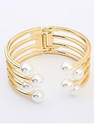 Feminino Bracelete Pérola Imitação de Pérola Liga Jóias da indicação Branco Dourado Jóias 1peça