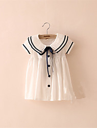 Children's Summer Style Cool Baby Girl Toddler A-Line Black White Ruffle Dress Kids One-piece Dress