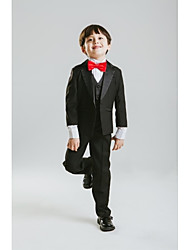 Black Polyester Ring Bearer Suit-4 Pieces