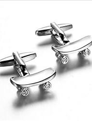 Men's Fashion Skateboard Style Silver Alloy French Shirt Cufflinks (1-Pair)