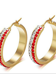 WOMEN Titanium Steel red  Hoop Earrings