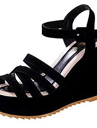 Women's Shoes Leatherette Wedge Heel Wedges Sandals Outdoor / Casual Black