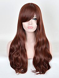Capless Long Curly Brown Synthetic Wig Side Bang