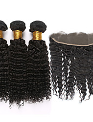 "4pcs/lot Mongolian Kinky Curly Virgin Hair With Frontal Closure 13""*4""Ear To Ear Lace Frontal Closure With Bundles"