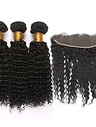 Trama do cabelo com Encerramento Cabelo Mongol Kinky Curly 6 meses 4 Peças tece cabelo