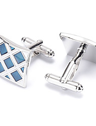 Men's Fashion Blue Grid Silver Alloy French Shirt Cufflinks (1-Pair)