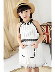 Robe Fille de Eté Polyester Blanc