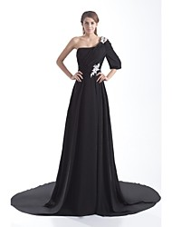 Formal Evening Dress - Elegant A-line One Shoulder Court Train Chiffon with Appliques Pleats