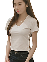 Damen Solide Sexy / Street Schick Lässig/Alltäglich T-shirt,Rundhalsausschnitt Sommer Kurzarm Rot / Weiß / Schwarz / BraunBaumwolle /