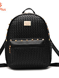 M.Plus® Women's Fashion Korean Knit PU Leather Backpack