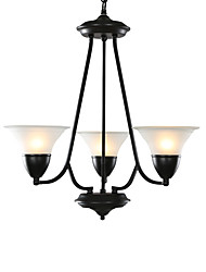 3 Light 25 inch Ceiling Light Fixture, Black