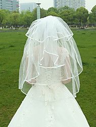 Wedding Veil Two-tier Fingertip Veils Ribbon Edge for Bridal