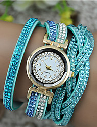 Women's Fashion Watch Bracelet Watch Imitation Diamond Quartz PU Band Black White Blue Brown Purple Rose