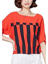 Mulheres Camiseta Casual Moda de Rua Verão,Listrado Vermelho / Branco Raiom Decote Redondo Manga Curta Média