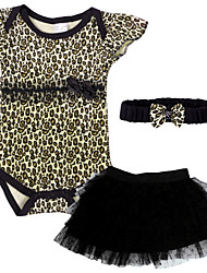 Infant/Newborn Baby Girls Summer Leopard/Hot Pink/Pink Rompers&Jumpsuit Set with Ruffle Skirt and Headband for 0~18M