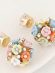 Earring Flower Stud Earrings Jewelry Women Party / Daily / Casual 1 pair White / Pink