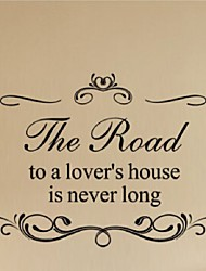 Removable Vinyl Quotes Wall Stickers The Road To A Lovers House Is Never Long Home Decoration Vinyl Wall Decals