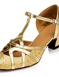 Customizable Women's Dance Shoes Latin Leatherette Stiletto Heel Gold
