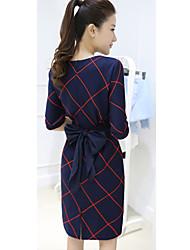 DLSXUE Women's Work / Casual / Day Color Block / Check Shift / Sheath Dress , Crew Neck Knee-length Cotton