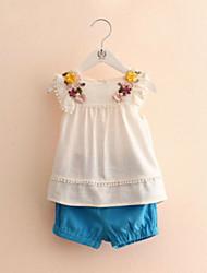 New 2016 Baby Girl Children's Clothing Summer Style Girls Dress Sets Petals Short Sleeve T-Shirt + Pants Suit