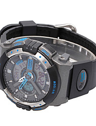 Men's Sport Watch Digital PU Band Black White Blue Silver