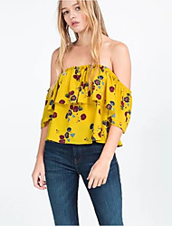 Women's Casual/Daily Sexy / Street chic Summer Blouse,Floral Boat Neck ½ Length Sleeve Yellow Polyester Thin