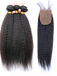 Klasse 7a slove Haar unverarbeitete 100% menschliches Haar brasilianisches verworrenes gerades Bündel mit Seide Basis Schließung