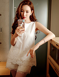 Women's Solid White Blouse,Round Neck Sleeveless