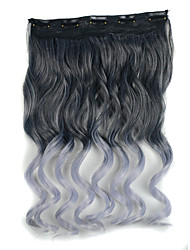 20 inch 5 Clips in Black mix Granny Grey Body Wave Synthetic Hair Extension