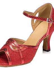 Customizable Women's Dance Shoes Latin Leatherette Stiletto Heel Red