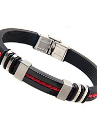 Bracelet Bracelets Rigides Silicone Mode Quotidien / Décontracté Bijoux Cadeau Noir,1pc